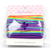 "5/8""16mm Rainbow Stripe Printed Fold Over Elastic Ribbon Stretch ribbon Dily handmade Knot Hair bows 10 yards HT01-FE016-01705"