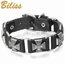 Brown Black Punk Style Cross Bracelet Leather Charm Bracelets Bangles for Men Jewelry 9.8 Inch pulseira de couro(China)