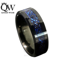 Queenwish 8mm Blue Black Silvering Celtic Knot Tungsten Carbide Ring Wedding Band Jewelry Irish Claddagh Anniversary Jewelry(China)
