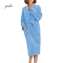 2017 New Housewear Women Robe Autumn Winter Warm Bathrobes Long Sleeve Flannel Robe Female Sleepwear Lounges Homewear Pyjamas(China)