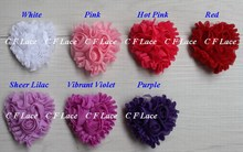 "EMS/DHL Free Shipping 55y/880pcs 7 colors 2"" Chiffon Rosette Hearts,Shabby Chic Chiffon Heart Appliques,Hair Accessories"