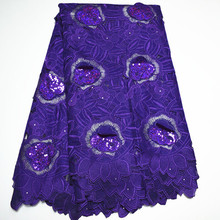 Latest Design Swiss Voile Lace Fabric With Sequin 2017 100%cotton Nice Material African 3D Lace Fabric For Nigerian Party Dress