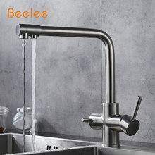 Beelee 100% Copper Nickel Brushed Swivel Drinking Water Faucet 3 Way Water Filter Purifier Kitchen Faucets For Sinks Taps BL7310