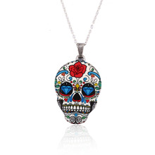 SMJEL New Fashion Vintage Skeleton Pendant Necklace Women Skull Head chain Necklace Party Halloween Gifts Accessories OXL021(China)