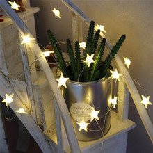 DELICORE 20 Leds Star Shaped LED Fairy String Lights Baby Home Decor Lighting For Holiday Party Decoration S146(China)