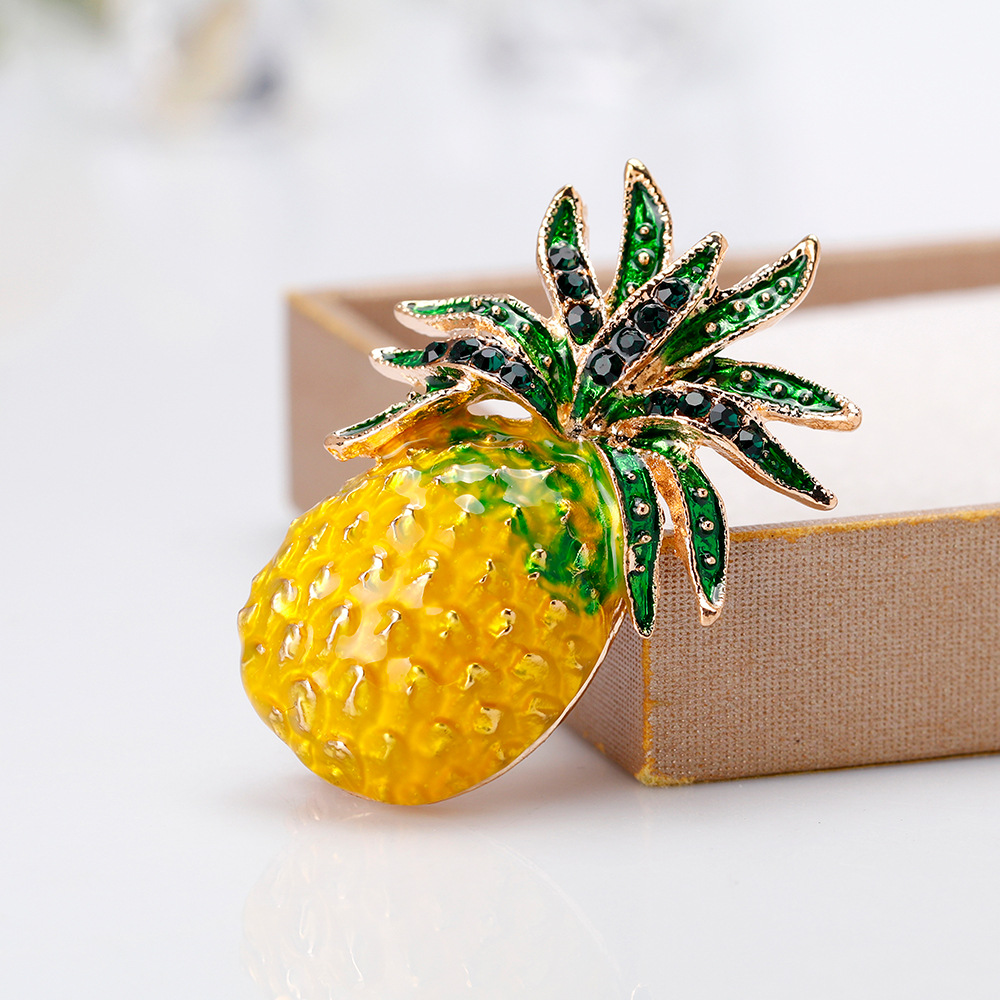 CHUKUI  Austria Rhinestone Inlay Enamel Pineapple Brooches For Women Cute Fruit Brooch Pin Dresses Coat Corsage Broches Gift (6)