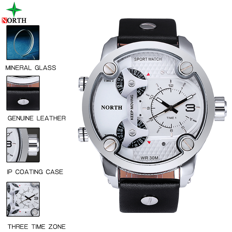Mens Watches Top Brand Luxury NORTH PU Leather Men Sp