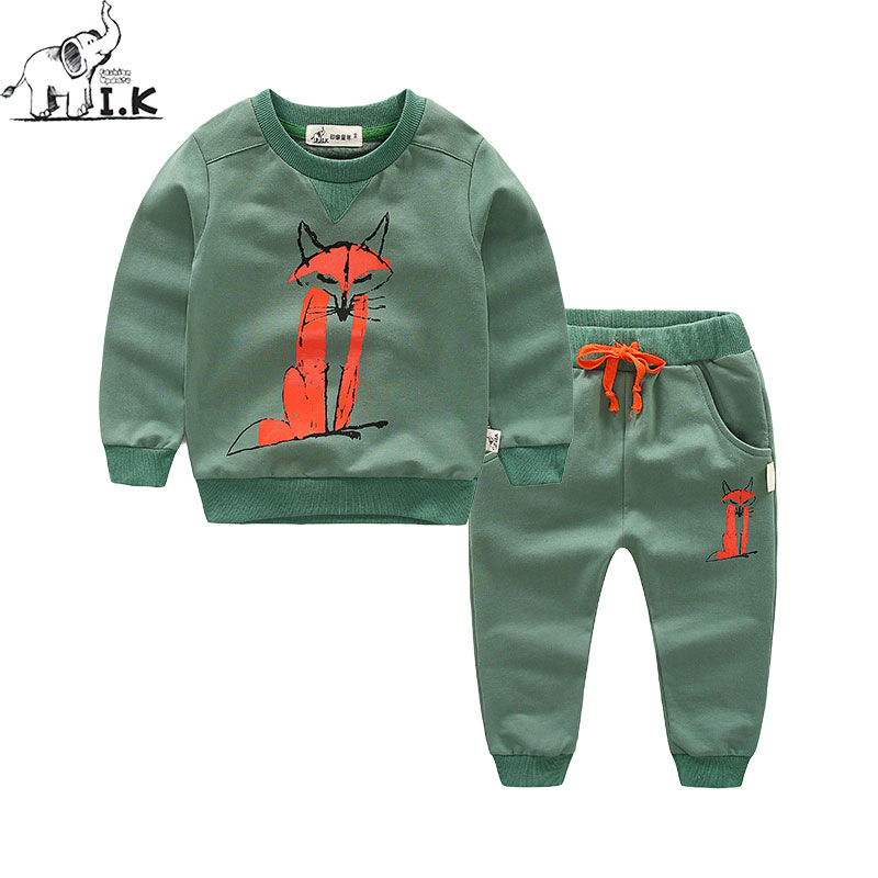 I.K Children Sport Clothing Set Tracksuit 2017 Autumn Spring Sport Suit For Boy Fashion Long Sleeves With Fox Printing AS1001<br>