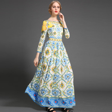 Elegant Ladies Dress 2016 Autumn Winter New 3/4 Sleeve Beautiful High-end Luxury Print Stunning Maxi Long Dress
