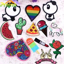 1PCS Lip Unicorn Patch Pizza Panda Cheap Embroidered Cute Patches Iron On Cartoon Patches For Clothes Kids Jeans Applique Badges(China)