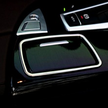 1 PCS Car DIY Stainless Steel Three Color Ashtrays Decorative Light Box Cover Case Stickers For Bmw 5 i Series Part Accessories