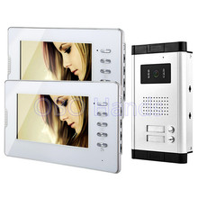 7'' wired color video door phone kit set 2 monitors+1 intercom outdoor doorbell camera with two control buttons for two families