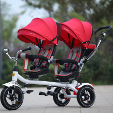Jin Ming children tricycle twins stroller double tricycle bicycle rotary seat