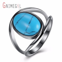 GNIMEGIL Brand Jewelry Stone with Turquoises Ring Copper Metal Oval Shape Ring Blue Main Stone Wedding Bands Luxury Ring women