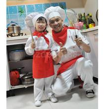 Adult Kids Cooking Chef Fancy Dress Role Play Cosplay Costume Top+Pant+Hat+Apron+scarf Set