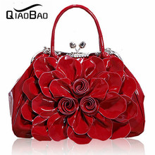 QIAOBAO 2017 Women's Rhinestone Bag Japanned Leather Shaping Bags OL Outfit Flower Bag Bride Handbag