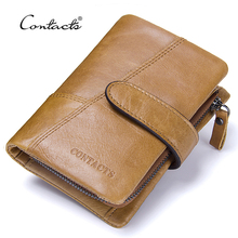 CONTACT'S Top Quality New Arrival Genuine Leather Wallet Standstone Men Wallets Luxury Dollar Price Vintage Male Purse Coin Bag(China)