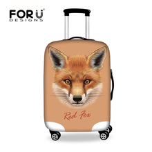 FORUDESIGNS 3D Fox Prints Travel Luggage Protective Cover for 18-30 inch Trolley Suitcase 3D Animals Stretch Elastic Dust Covers(China)