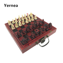 Professional International Chess Game Version Wooden Chess Classic Standard Folding Educational Antique Terracotta Chess Yernea