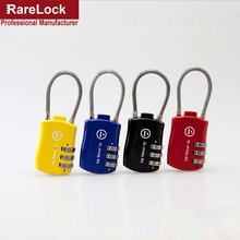 LHX 4 Color Wirerope Padlock Box Game Luggage School Bag Locks Code Combination Digital Password Lock(China)