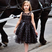 England Style Tutu Rosette Flower Girl Dresses Black Christmas Holiday Vestidos Gown Crew Neck Knee-Length Tulle Lace Custom