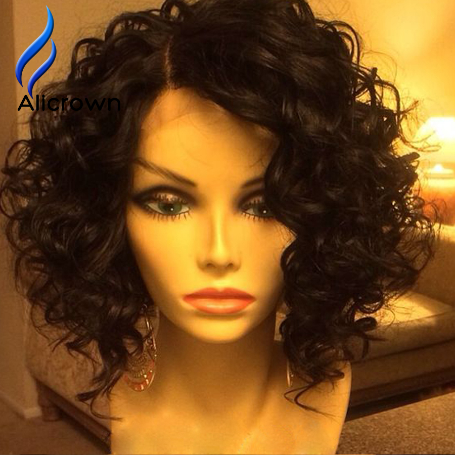 Alicrown Full Lace Curly Wig For Black Women Short Hair Wigs For Black Women Curly Lace Frontal Wig Bleached Knots Baby Hair<br><br>Aliexpress