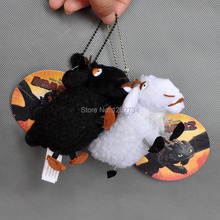 "Free Shipping EMS 100/Lot New How To Train Your Dragon 2 BLACK & WHITE SHEEP 5.5"" Plush Toy keychain(China)"