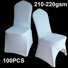 100 pcs White Universal Stretch Polyester Spandex Party Chair Covers for Weddings 210 - 220 gsm(China)