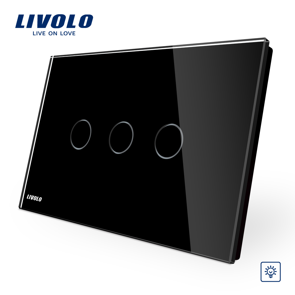 Livolo AU/US Standard Touch Switch, Black Pearl Crsytal Glass Panel 3Gangs 1Way, 220V/50Hz Touch Light Dimmer Switch VL-C903D-12<br>