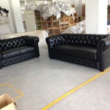 JIXINGE Modern High Quality Classical living room t Sofa Genuine Leather Sofa American Style Chesterfield Sofa 2+3 seater black