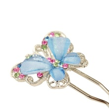1 pcs Fashion Jewelry Cute Girls Shining Crystal Butterfly Hairpin Hair Accessories for woman lazos para pelo(China)