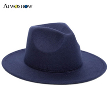 2017 Black Women Fedoras Cap Top Vintage Hat For Girls Big Flat Brim Felt Hats Female British Style Woolen Ladies Jazz Round Cap(China)