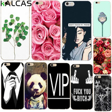 KALCAS Cool Girl Flower Rose Plant Case Cover For iphone 7 6 6s 4.7'' 5 5s 5se Capa Funda Silicone Soft Phone Bags Shell Coque