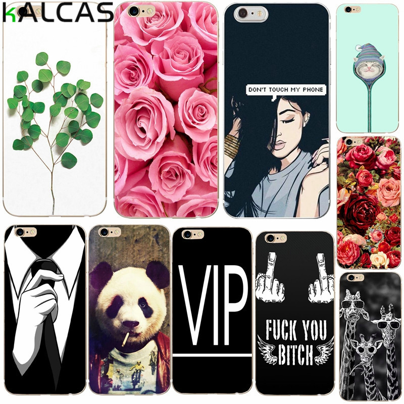 KALCAS Cool Girl Flower Rose Plant Case Cover For iphone 7 6 6s 4.7'' 5 5s 5se Capa Funda Silicone Soft Phone Bags Shell Coque(China)