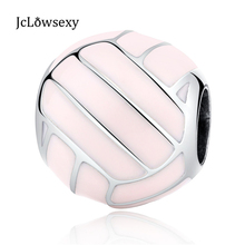 Authentic 925 Sterling Silver Bead Charm Pink Volleyball Sports Beads Fit Women Bracelets & Bangles Jewelry yw20354
