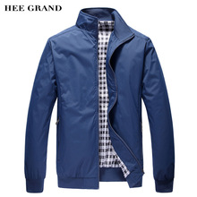 HEE GRAND Men's Jacket Spring Autumn Fashion Overcoat 2017 New Arrival Stand Collar Slim Casual Style Whole Sale 3 Colors MWJ001