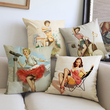 Vintage Retro Sexy Lady Pinup Girl Poster Print Canvas Car Decorative Throw Pillowcase Pillow Case Cushion Cover Sofa KDT1606