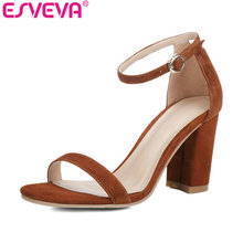 ESVEVA 2017 Women Sandals Concise Summer Peep Toe Sandals Square High Heel Sandals Genuine Leather Shoes Ladies Shoes Size 34-39(China)