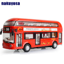 Classic 1:50 scale London Double Decker air-conditioned bus diecast car alloy pull back toys with light and sound for kids