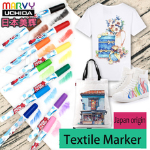Marvy Stained Textile Markers Permanent Nontoxic Fabric Marker Minimal Bleed Fast Drying Clothes Paint Pen for Canvas Bags Shoes