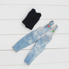 Fortune Days Blyth doll A set Denim Overalls for the JOINT body cute skirt Factory Blyth(China)