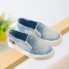 Canvas Children Shoes with Crystal Kids Sneakers Elastic Band Denim Girls Shoes Jeans Flat Children Casual Shoes Spring Summer