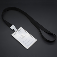 1pcs Black Color ID Name Card Case Aluminum Alloy Business Card Badge Holder with Neck Lanyard Strap Company Office Supplies