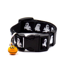 Halloween ghost Pattern dog collar with cute pumpkin bell dogs pets puppy collar festival dog accessories guinzaglio cane &TC71