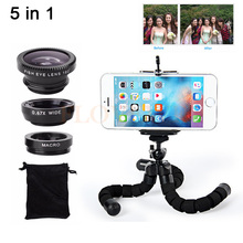 Universal 5in1 Phone Camera Lens Kit 3in1 Fish Eye Wide Angle Macro Lenses Tripod For iPhone 7 6 6s Plus 5 5s SE 4 4s Smartphone