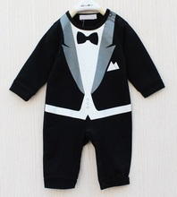 Retail Baby Tuxedo Rompers Long Sleeve Gentleman One-Pieces Toddler Costumes Coverall Baby Overalls 1pcs