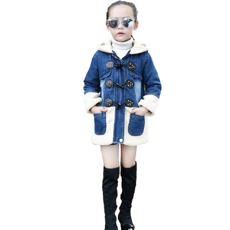 Girl cowboy jacket long-sleeved hooded fur fur coat childrens clothing leather button girl winter coat denim cotton coat 4-13Y7<br>