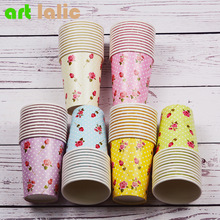 12pcs/lot Colorful Rose Flower Paper Cup For Party Decoration Happy Birthday Party Supplies Favor Baby Shower Wedding CP068