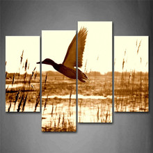 4 Panels Canvas Photo Prints Brown Duck Fly Upon River Animal Wall Art Picture Paintings Wall Decorations for Home Decor(China)