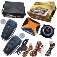 auto car security system slim start stop button transponder chip built in alarm remote remote start stop engine by unlock action(China)